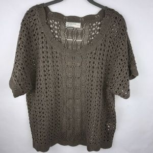 Inked And Faded Taupe Crocheted Knit Top